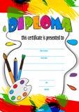 Vektormodellbarns diplom för leveransen på en idérik strid i dagis eller skola diplom av barn vektor illustrationer
