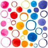 Vektormodellen med vattenfärgen bubblar för design royaltyfri illustrationer