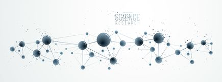 Vektormolekylar vetenskapligt tema för bakgrund för kemi- och fysiktemavektor abstrakt mikro och nano vetenskap och teknik, vektor illustrationer