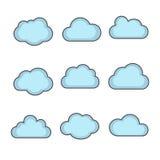 Vektormolnformer ställer in, fördunklar symboler för molnet som beräknar för rengöringsduk Arkivfoton