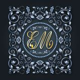 Vektormonogram och initialer Försilvra den dekorativa ramen Bokstav E, M bröllop för romantiskt symbol för inbjudan för bakgrunds stock illustrationer