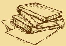 Vektormonokrom skissar böcker isolerad seriebunt royaltyfri illustrationer