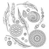 Vektormonokromuppsättning av stam- dekorativa objekt royaltyfri illustrationer