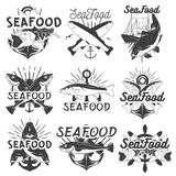 Vektormonokromuppsättning av havs- emblem, emblem, baner, logoer Isolerad illustration i tappningstil för livsmedel Arkivfoton