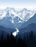 Vektormorgen in den schönen Bergen mit Fluss Stockfotografie