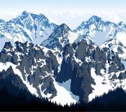 Vektormorgen in den schönen Dolomitbergen Lizenzfreie Stockfotos