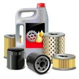 Vektormotorolja och filter Fotografering för Bildbyråer