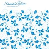 Vektormörker - blå turkisk blom- horisontalram Arkivfoto
