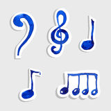 Vektormusik-Anmerkungsikone auf Aufklebersatz Lizenzfreie Stockfotos