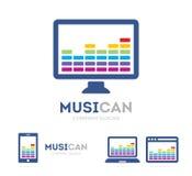 Vektormusik och telefonlogokombination Utjämnare och mobilsymbol eller symbol Unik radio- och ljudlogotypdesign Arkivbild