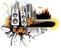 Vektormusik-Stadtabbildung Stockfoto
