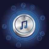 Vektormusikbegrepp med metallknappen och symboler Arkivbild