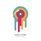 Vektormusiklogo, Aufkleber oder Emblemdesign Geschmolzene Vinyldiskette lokalisierte Mehrfarbenikone Lizenzfreie Stockfotos