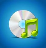 Musiksymbol med CD Arkivfoto
