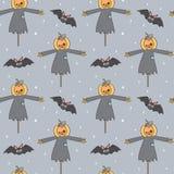 Vektormuster-Hintergrundillustration Halloweens der netten Karikatur nahtlose mit Kürbisvogelscheuche und -schlägern vektor abbildung