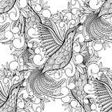 Vektormuster-Malbuchvogel Kolibri und einfarbige schwarze Tinte der Blätter lizenzfreie abbildung