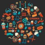 Vektormuster mit gezeichneten Ikonen des Kinos Hand kritzeln Art Lizenzfreie Stockfotos