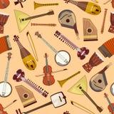 Vektormuster mit Musikinstrumenten Stockfoto