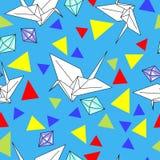 Vektormuster mit origami Kränen und Diamanten vektor abbildung