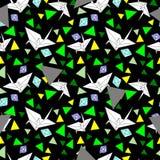 Vektormuster mit origami Kran stock abbildung