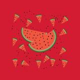 Vektormuster mit Wassermelonenscheiben Stockfotos