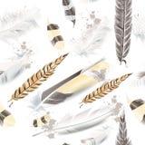 Vektormuster mit weißen beige Federn Stockfotos