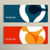 Vektormuster mit zwei Fahnen mit abstrakten Zahlen Stockfotos