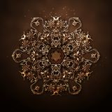 Vektormuster von goldenen Kreisblumen Stockfotografie