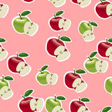 Vektormuster von roten und grünen Äpfeln Lizenzfreies Stockfoto