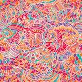 Vektormuster-Zusammenfassungshintergrund mit bunter Verzierung Illustration des Handabgehobenen betrages, Malbuch zentangle Algen lizenzfreie abbildung