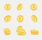 Vektormynt, guld- mynt, dollar pengar i olika vinklar på stordiabakgrund royaltyfri illustrationer