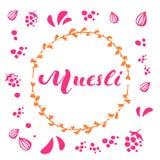 Vektormysli som märker rosa logodesign i orange cirkel av ris med frö och bär vektor illustrationer