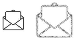 Vektornätverk Mesh Open Letter och plan symbol stock illustrationer
