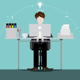 Vektorn affärsmannen tänker arbetet till den breda världen med arbetsställen och främre sikt för papper Arkivbild