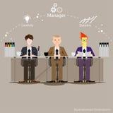 Vektorn affärsmannen tänker arbetet till den breda världen med arbetsställen och främre sikt för papper Royaltyfri Bild