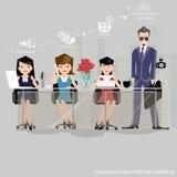 Vektorn affärsmannen tänker arbetet till den breda världen med arbetsställen och främre sikt för papper Arkivfoto