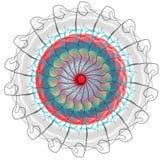 Vektorn Art Mandala och Tatoo, TECKEN, BOKSTÄVER, KOPPLAR AV, YOGA, MYSTIKER, FRÄMLINGEN, AURA, RITUAL vektor illustrationer