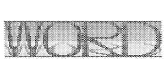 Vektorn av `en för ord`-ordet bildade vid `en för ord`-ordet, i svartvitt med skuggorna av bokstäverna stock illustrationer
