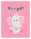 Vektorn av en gullig rosa färg behandla som ett barn elefanten royaltyfri illustrationer
