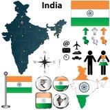 Kartlägga av Indien Arkivbilder