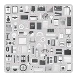 Vektorn av plana symboler, det moderna kontoret och organisationstillförsel ställde in Arkivbild