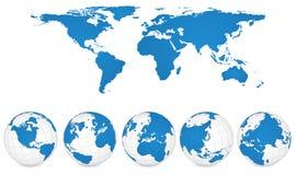 Världen kartlägger, och jordklotet specificerar vektorillustrationen. royaltyfri illustrationer