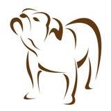 Vektorn avbildar av en förfölja (bulldoggen) Royaltyfria Bilder