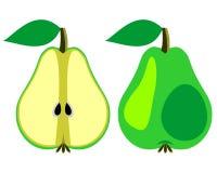 Vektorn bär frukt illustrationen Detaljerade symboler av päron, helt och halvt som isoleras över vit bakgrund Arkivbild