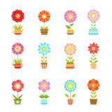 Vektorn blommar i olika krukor Blom- uppsättningisolat på vit bakgrund royaltyfri illustrationer
