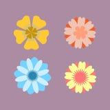 Vektorn blommar isolerade symboler Vektor Illustrationer