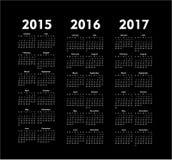 vektorn calendars 2015 2016 2017 år stock illustrationer
