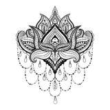 Vektorn dekorativa Lotus, person som tillhör en etnisk minoritet zentangled hennatatueringen, modell Royaltyfria Bilder