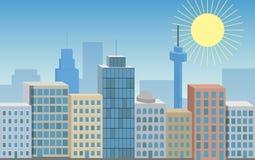 Vektorn färgade den sömlösa illustrationen 3D av storstaden med att skina royaltyfri illustrationer