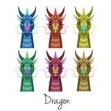Vektorn färgade djuret för drakehuvuduppsättningen av det kinesiska zodiaksymbolet Arkivfoton